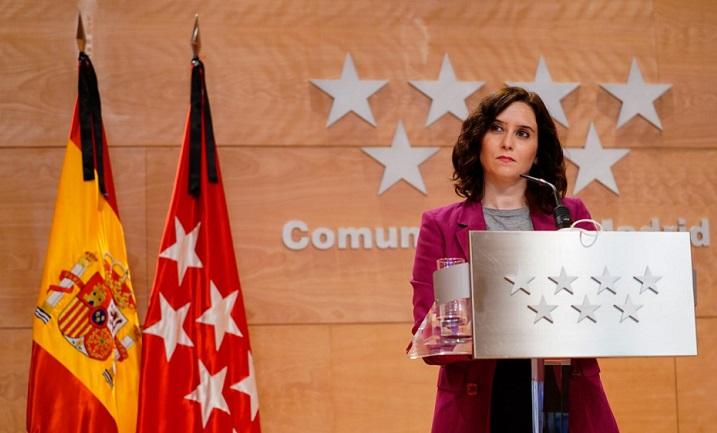 """La presidenta de la Comunidad de Madrid, Isabel Díaz Ayuso, dice que España """"tiene mucho que aprender"""" de Israel en materia de lucha contra el coronavirus"""