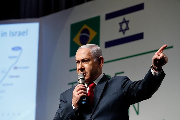 El primer ministro Benjamin Netanyahu durante la apertura de una reunión de empresarios de Israel y Brasil, en Jerusalén en el 2019