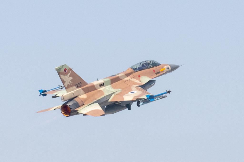 Un F16 Barak de la Fuerza Aérea de Israel