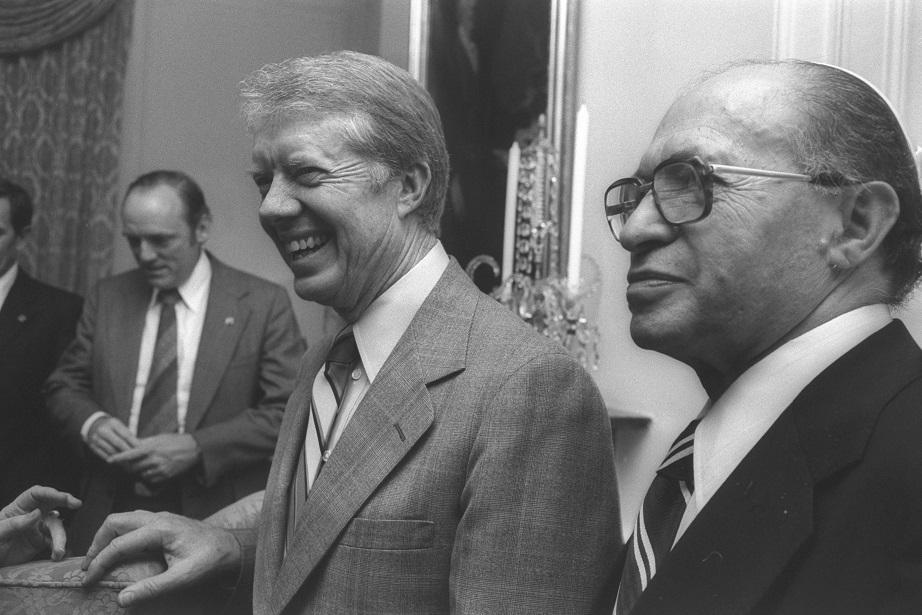 El presidente de Estados Unidos, Jimmy Carter, y el primer ministro de Israel, Menajem Begin, en Washington en 1979