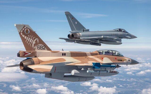 Un F-16 de la FAI y un Eurofighter de la Luftwaffe, juntos en el cielo alemán