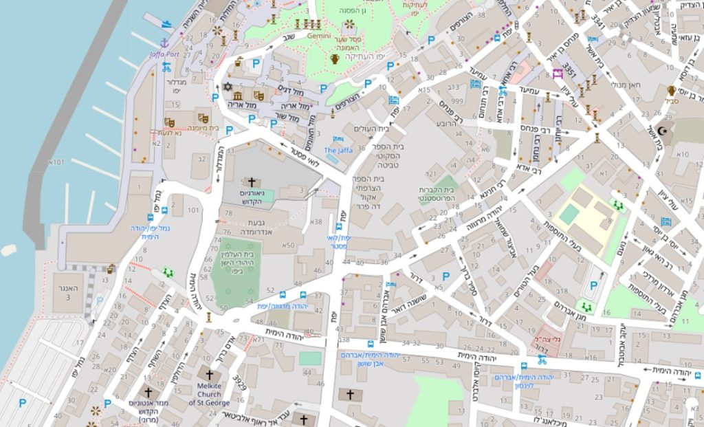 Calles de Tel Aviv en OpenStreetMap